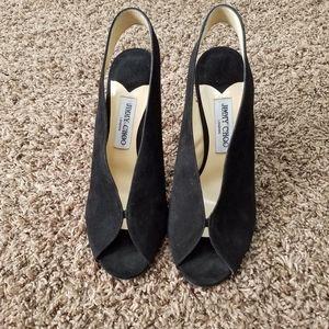 Shar black suede peep toe slingbacks